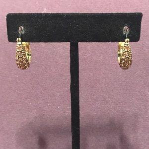 Small Brown blingy hoop earrings.  2/$10 Sale
